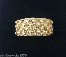 9ct Gold Four Row Keeper Ring, Size H