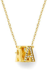 "C. Wonder Gold Pave Cube Initial Necklace ""J"" NWT $38"