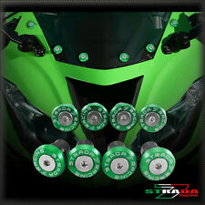Strada 7 CNC Windscreen Bolts M5 Wellnuts Set Kawasaki Z750S 2006 - 2008 Green