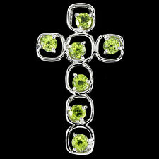 NATURAL Apple Green PERIDOT CROSS 925 Sterling Silver PENDANT