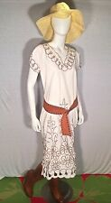 True Vtg 70s Bohemian Handmade Eyelet Embroidered White Hippie Floral Dress Sz L