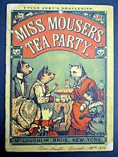 Rare! MISS MOUSER'S TEA PARTY 1876 Vintage Illustrated Children's Book ft. Cats!