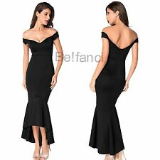 STUNNING OFF SHOULDER BLACK MERMAID PEPLUM FISHTAIL MIDI DRESS SIZE 8 10 12 14