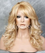 GOLDEN Blonde mix Wig Big Curly Wavy Wig with Long Bangs BL 24-613