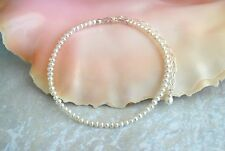 """White Freshwater Pearl & Italian .925 Sterling Silver Ankle Bracelet 8"""" to 10"""""""