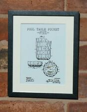 USA Patent Drawing SNOOKER POOL POCKET HOLE sport MOUNTED PRINT 1916 Gift