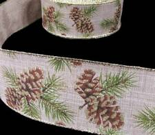 "5 Yds Christmas Pinecone Pine Cone Pine Tree Wired Ribbon 2 1/2""W"
