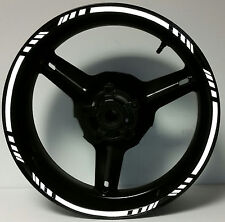 WHITE REFLECTIVE MOTORCYCLE RIM STRIPES WHEEL DECALS TAPE STICKERS CAR BIKE SUV
