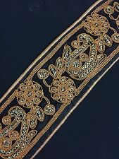 (60mm) Velvet Trim with Gold Piping - Braid/Gimp/Sequins - 1 Metre
