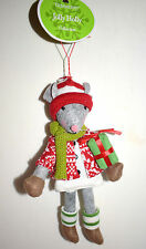 """New Christmas Ornament-10"""" Stuffed Christmas Rat Mouse dressed with Presentg Wow"""