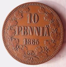 1865 FINLAND 10 PENNIA - High Grade - Low Mintage at 250k - FREE SHIPPING