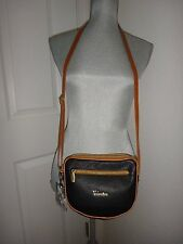 VALENTINA~Women's Shoulder Bag Messenger Cross-Body Black Leather~MADE in ITALY