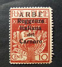 ITALIA FIUME  ARBE 1920  Valore con Soprastampa grande ,10c carminio  MH * ss.2