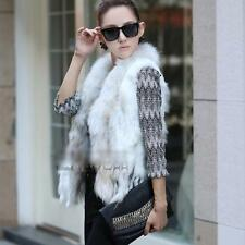 Stylish Knitted Real Farms Rabbit Fur Waistcoat Vest Gilet Raccoon Fur White