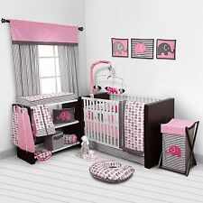 Baby Girl Bedroom Set Nursery Bedding Elephants Pink Grey 10 pc Crib Infant Room