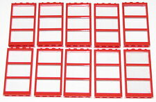 LEGO LOT OF 10 NEW 1 X 4 X 6 RED FRAMES WINDOWS DOORS PIECES