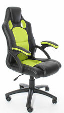 GAMING Style CHAIR Luxury Office High Back Support in Black & Apple Green New