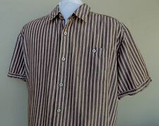 Patagonia Striped Shirt XL Mens Button Front Organic Cotton Red White Brown SS