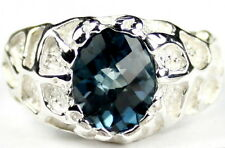 SR168, London Blue Topaz, Sterling Silver Men's Ring, size 16