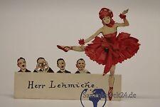 alte Platzkarte Tänzerin mit beweglichen Bein  vintage old reservation card
