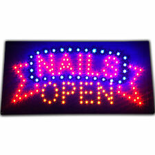 "Bright Animated NAILS OPEN Beauty Parlor Salon SPA LED Sign 19x10"" Display neon"