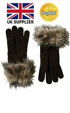 Board Angels Womens Faux Fur Trim Gloves Charcoal One Size New Fashion Must Have