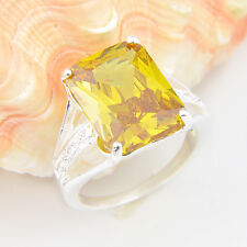 Solitaire Holiday Gift Square Fire Golden Citrine Gemstone Silver Ring Size 8