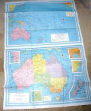 VERY LARGE WALL MAP AUSTRALIA NEW ZEALAND PACIFIC ISLANDS 1956