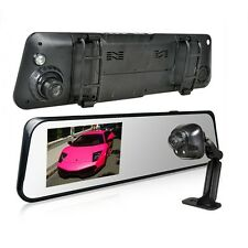 "6000A 4.3"" TFT HD 1080P Car DVR Rear View Mirror 170° G-sensor Dual Camera GPS"