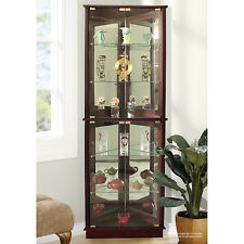 Corner Curio Cabinets Display Case with Glass Doors Lighted Mirrored China Dish