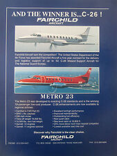 1/1991 PUB FAIRCHILD C-26 AIR FORCE METRO 23 NORTHWEST AIRLINK ORIGINAL AD