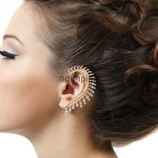 Punk Gothic Crystal Rhinestone Leaf no pierced Clip Ear Cuff Wrap Earrings