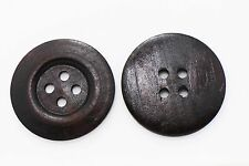 Extra Large Dark Brown Wooden Button Wide Edge Coat Four Holes Big 50mm 10pcs