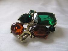 Vintage green & amber rhinestone pin yellow gold plated