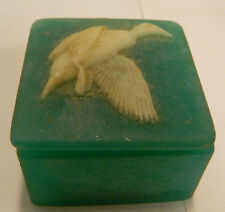 """Vintage Green Soap Stone Trinket Box Duck Image 1.88"""" x 1.25"""" Excellent Cond"""