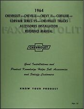 1964 Chevy Accessory Installation Manual 64 Impala Bel Air Biscayne Chevrolet