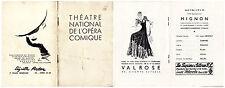 Programme du Théâtre National de L'Opéra Comique - Mignon - 2 Mai 1939