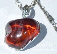 "Sterling Pendant 30 X 25mm Baltic Amber 18"" AK Chain & Clasp Konder #256"