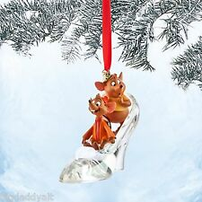 New Disney Store Jaq & Gus Cinderella Glass Slipper Christmas Tree Ornament