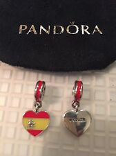 PANDORA SILVER DANGLE SPAIN FLAG HEART CHARM New In Pouch