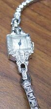 Antique Omega Woman's 14k WG Diamond Watch
