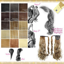 Wrap Around Clip In Pony Curly Straight Blonde Brown Red Black Hair Extension UK