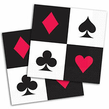 """16 Place Your Bets Casino Playing Cards Night 5"""" 2ply Beverage Party Napkins"""