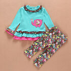 Blue 2pcs Baby Girl Toddler Clothes Outfits Elephant T-shirt Lace+ Pants 6-24M