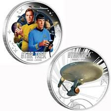 2016 STAR TREK CAPTAIN JAMES T. KIRK AND SPOCK 1oz SILVER PROOF 2 COIN SET