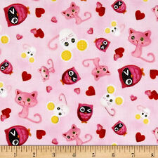 Lalaloopsy Cotton Quilt Fabric Cute as A Button Mice Kitty Owl Pink Bfab