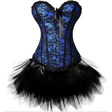 Women's Sexy Burlesque Costumes Party Plus Size Corset Dress Bustier Black TuTu