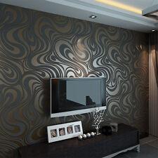 3D Modern Luxury Stripe Wallpaper Roll Brown&Balck For Living Room TV Background