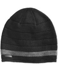 $95 CALVIN KLEIN UNISEX BLACK OTTOMAN RIBBED HAT WARM WINTER BEANIE ONE SIZE