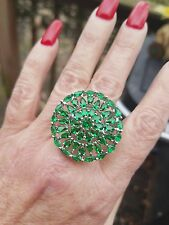 Kelly Green Emerald Ferris Wheel Open Cluster Ring, Sterling Silver, Sz 9